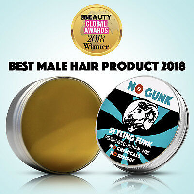 NO GUNK Styling Funk For Hair & Beard - NO Chemicals - Natural Styling Wax Men • 12.99£