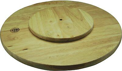 £12.99 • Buy Rotating Wooden Tray Round Lazy Susan Turntable Serving Solid Plate Pizza Board