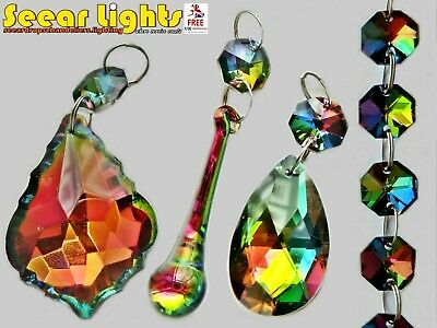 £8.99 • Buy Gothic Chandelier Parts Iridescent Glass Crystals Droplets Vitrail Beads Drops