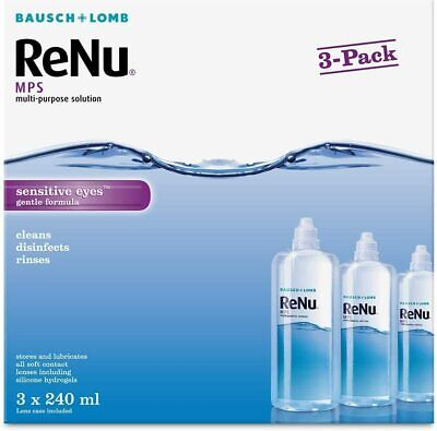 Bausch&Lomb ReNu MPS Multi-purpose Contact Lens Solution 3x240ml 3 Month Supply • 13.95£