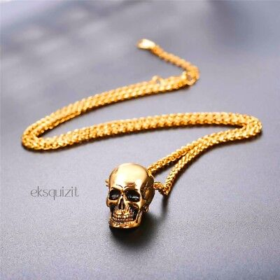SKULL PENDANT NECKLACE 24k GOLD PLATED PUNK BIKER GOTH CHAIN • 23.69£