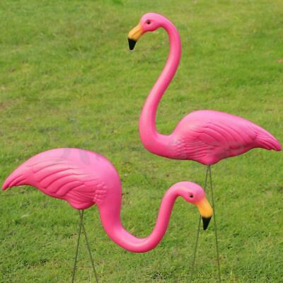 £11.94 • Buy 2pc Plastic Lawn Flamingo Garden Pond Ornament Pink Decoration Stand Patio