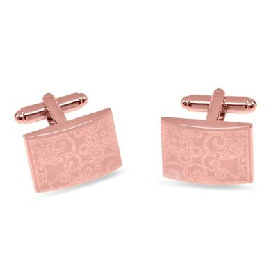 £14.41 • Buy Rose Gold Plated Mens Or Womens Cuff Links 14k Gold Plated Laser Engraved Design