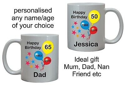 £8.95 • Buy Personalised Birthday Mug For Him Or Her Mum Dad Sister Brother Cup Any Age Gift