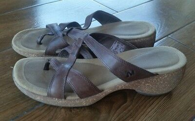 $23 • Buy Merrell Brown Strappy Leather Sundial Cross Sandals Excellent Women 8