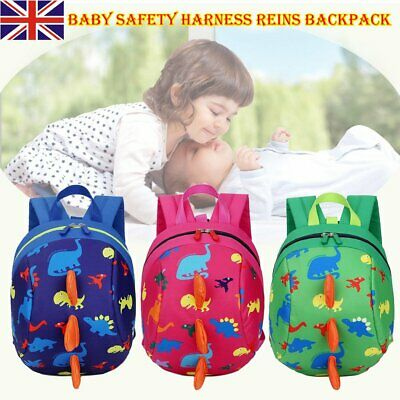 Child Toddler Baby Safety Harness Reins Backpack Anti-lost Dinosaur Cartoon Bags • 6.06£