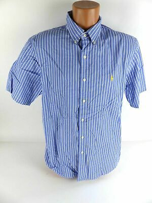08f5e423cc5b52 POLO By Ralph Lauren Slim Fit Herren Hemd Kurzarm Blau Gestreift Gr. XL  (7949