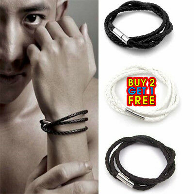 Men Handmade Leather Braided Surfer Wristband Bracelet Bangle Steel Clasp  • 1.79£
