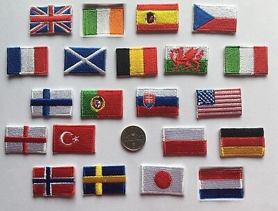 Tiny National Country Embroidered Flag Patch 3cm X 2cm Sew On/ Iron On Patch • 1.99£