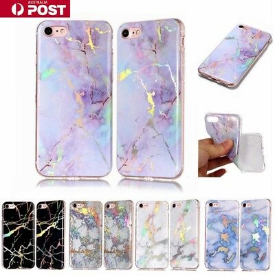 AU6.99 • Buy  Marble Pattern Soft Jelly Silicone Bling Case Cover For IPhone 5/6/78/Plus/X/SE
