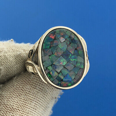 $ CDN78.65 • Buy Whitney Kelly WK QVC 925 Sterling Silver Opal Mosaic Inlay Cocktail Ring