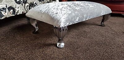 £39.99 • Buy Foot Rest Pouffe Foot Rest With Queen Anne Legs Crushed Velvet Silver Glitz