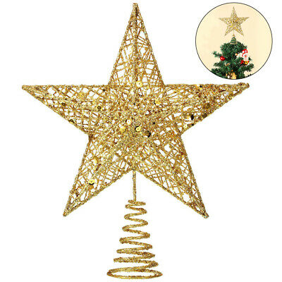 Glitter Gold Christmas  Tree Topper Decorations Baubles Stars New • 6.29£