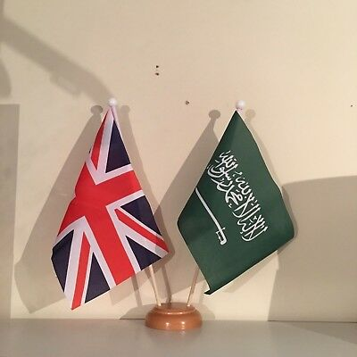 £7.99 • Buy UNION JACK AND SAUDI ARABIA TWIN TABLE FLAG SET With WOODEN BASE 9 X6  FLAGS