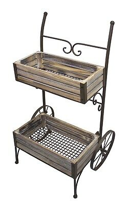 Antiqued In/outdoor Plant/Flower Cart, Iron Metal & Wood Garden Stand W/Wheels • 219.99$