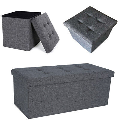 Grey Large Linen  Folding Storage Ottoman Pouffe Seat Foot Stool Storage Box • 15.89£