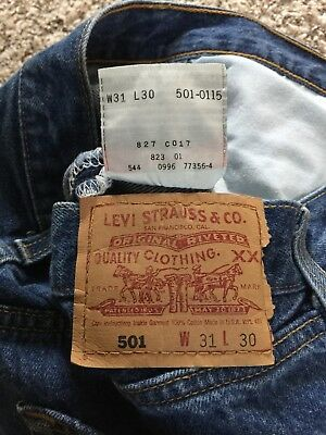 7af96a67 Vintage Levi's 501 Button Fly Selvedge Denim Blue Jean Size 30x30 Made In  USA • 79.99