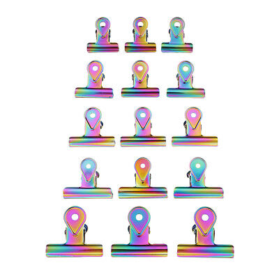 3pc Bulldog Clips Binder Paper Filing Metal Letter Clips Rainbow Color Clamp • 4.60£