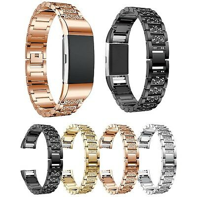 AU16.72 • Buy Bling Rhinestones Metal Band For Fitbit Charge 2 Charge2 Strap Bracelet Adapters