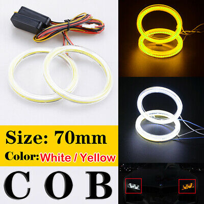 70mm Car COB LED Angel Eyes Halo Ring Fog LED Driving Turn Signal Lamp Light UK • 16.99£