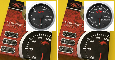 AU110.66 • Buy 52mm Water Temperature Gauge 40-120 + Oil Pressure 0-140 SAAS Street 2  Black