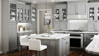 $4999.99 • Buy Fully Assembled - All Wood 10X10 Modern Shaker Kitchen Cabinets In Elegant Gray