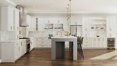 $5299.99 • Buy Fully Assembled - All Wood 10X10 Modern Shaker Kitchen Cabinets In Elegant White