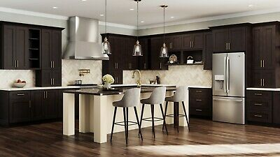 $5299.99 • Buy Fully Assembled - All Wood 10x10 Modern Shaker Kitchen Cabinets Elegant Espresso