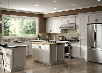 $2999.99 • Buy Fully Assembled All Wood 10X10 Luxor White Shaker Kitchen Cabinets + Finger Grip