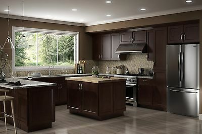 $4399.99 • Buy Fully Assembled - All Wood 10X10 Luxor Modern Espresso Shaker Kitchen Cabinets
