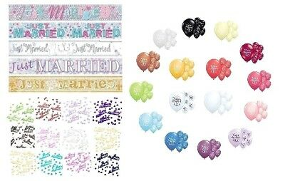 Just Married Party Decorations Banners Balloons Confetti Wedding Decorations • 1.99£