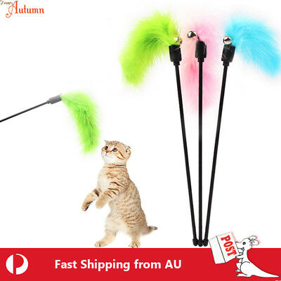 AU6.49 • Buy Cat  Play Feather Teaser Wand Toy Interactive Stick Kitten Pet Fun Wire Beads