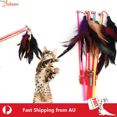 AU6.49 • Buy Cat  Play Feather Teaser Wand Toy Interactive Stick Kitten Pet Fun Wire Beads 5