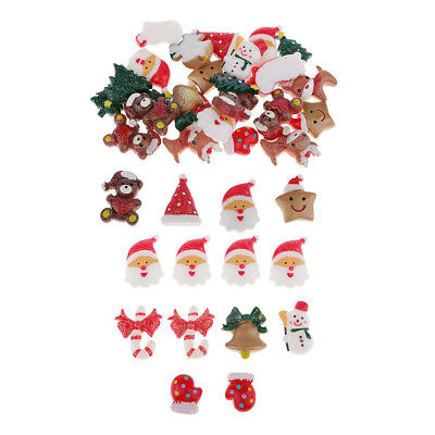 10/30x Mixed Christmas Resin Flatback Decoden Cabochons Scrapbooking Buttons • 2.66£