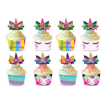 £3.99 • Buy Unicorn Cupcake Topper Cases Muffin Wrapper Cake Decoration Party Supplies 24PCS