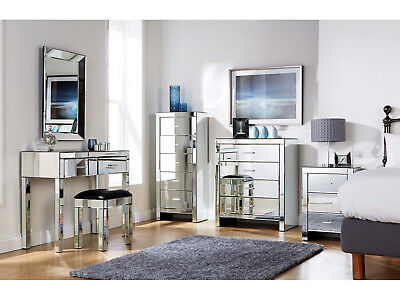 £264.95 • Buy Mirrored Furniture Bedroom Collection - Glass Chest Drawers Dressing Table Range