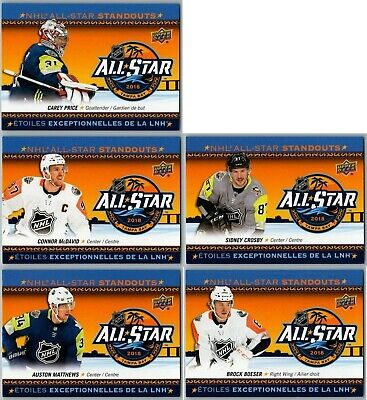 $ CDN1.99 • Buy 2018-19 Ud Tim Hortons Nhl All Star Standouts Complete 5 Card Insert Set Lot Sp