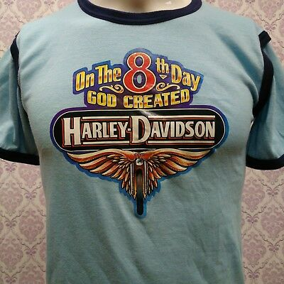 $ CDN50 • Buy Vintage 80s Harley Davidson Iron On Ringer T Shirt Size S Deadstock Unworn 50 50