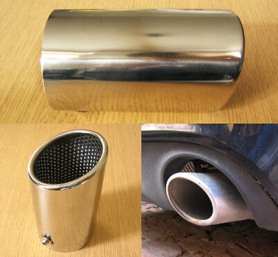 £32.57 • Buy Stainless Steel Chrome Exhaust Tip 74mm Tail Pipe Sports Oval Trim A4 Style
