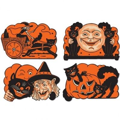 $ CDN5.70 • Buy Vintage Halloween Cutouts #1 Paper Cutouts 9  4 Pack Halloween Party Decorations