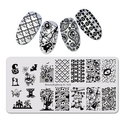 $8.18 • Buy Women Rectangle Nail Art Stamping Plates Image Stamp Template Halloween Party