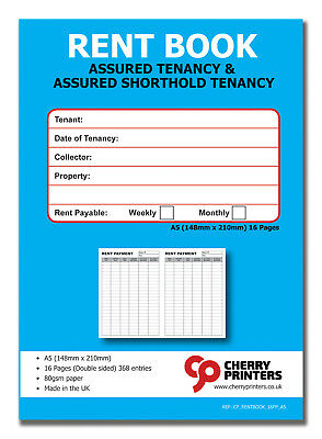 Cherry Tenants Rent Book - Assured Tenancy & Shorthold Tenancy A5 Weekly/Monthly • 2.87£