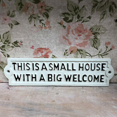 £8.49 • Buy White Cast Iron Metal Home Garden Wall Art Sign Plaque  Small House Big Welcome