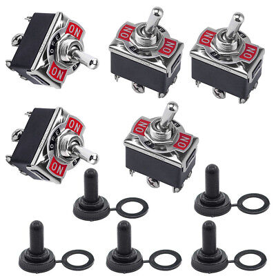 5pcs 3 Position 6 Terminal On/Off/On DPDT Toggle Switch + Waterproof Boot STOCK • 8.38$