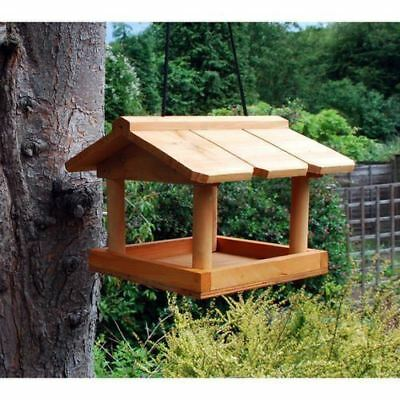 £12.75 • Buy Hanging Wooden Bird Table Garden Birds Pet Tree Bracket Hang Feeding Station