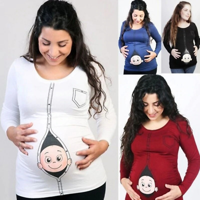 AU21.90 • Buy Cute Pregnant Maternity T Shirts Casual Pregnancy Maternity Clothes With Baby Pe