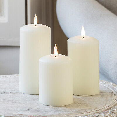 Set Of 3 Battery LED Flameless Pillar Candles TruGlow™  With 6h Timer Lights4fun • 32.99£