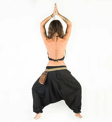 AU27 • Buy Amazing Afghani Yoga Black Pants, Plain 100% Cotton Yoga Nepal Hippie Pants