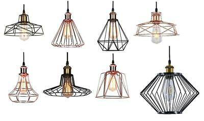 £11.49 • Buy Vintage Metal Cage Industrial Wire Frame Pendant Light Loft Ceiling Lamp Shade