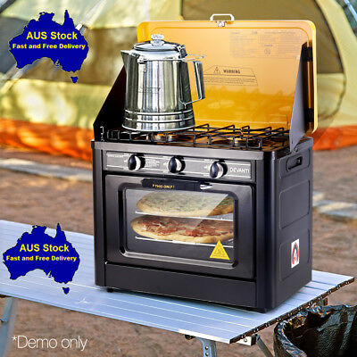 AU258.79 • Buy Portable Handy Gas Oven Stove Cooker 2 Burner Camp Picnic Cook BBQ Thermometer